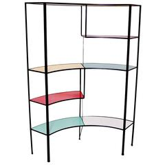 Multicolored Vitrolite Glass Wrought Iron Shelf by Frederick Weinberg