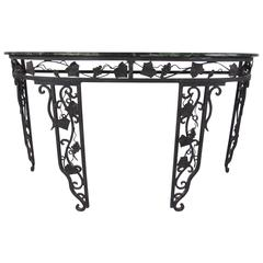 Vintage Iron and Marble Demilune Console Table