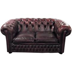 English Cordovan Leather Chesterfield Loveseat