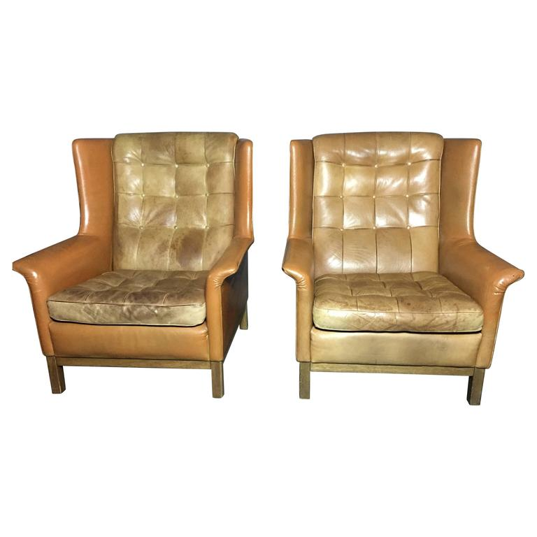 Pair Of Arne Norell Buffalo Leather High Back Lounge Chairs Sweden 1960s At