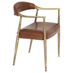 Italian Brass Armchair in Saddle Leather