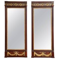 Pair of Danish Louis XVI Mahogany and Parcel-Gilt Mirrors, circa 1790s