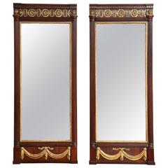 Pair of Danish Louis XVI Mahogany and Parcel-Gilt Mirrors, circa 1790s