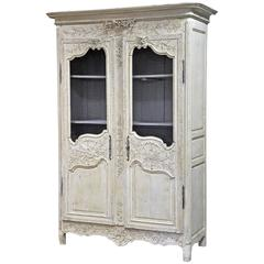 Early 19th Century Painted Normand Wedding Armoire