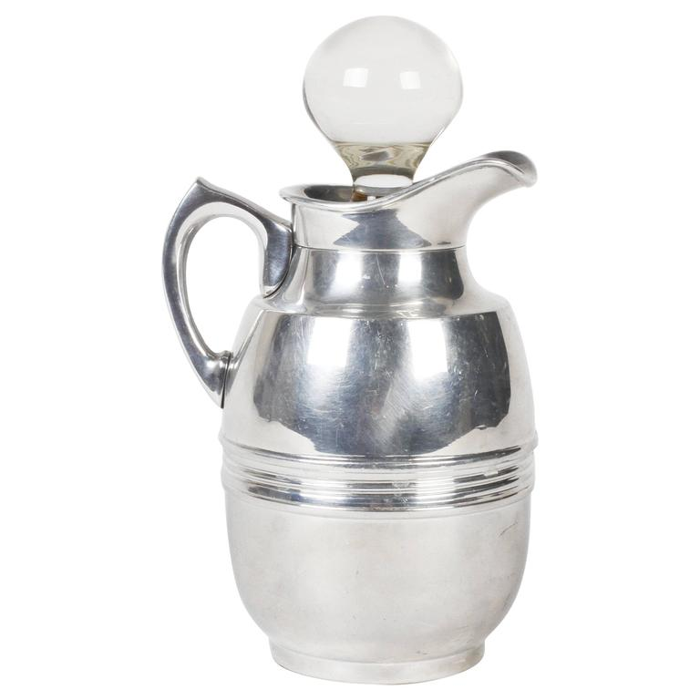 Silver Plated Water Pitcher with Glass Stopper