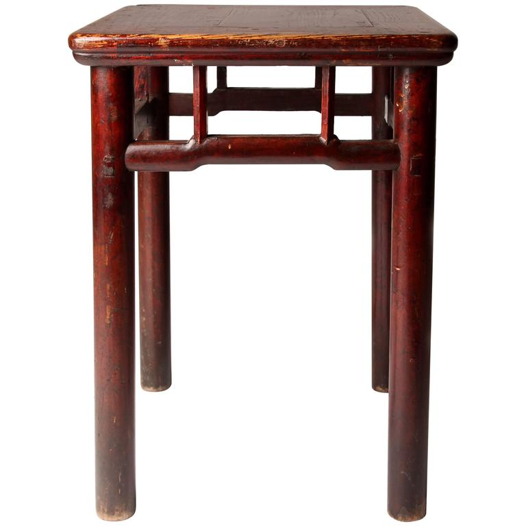 Chinese Square Stool with Humpbacked Stretchers