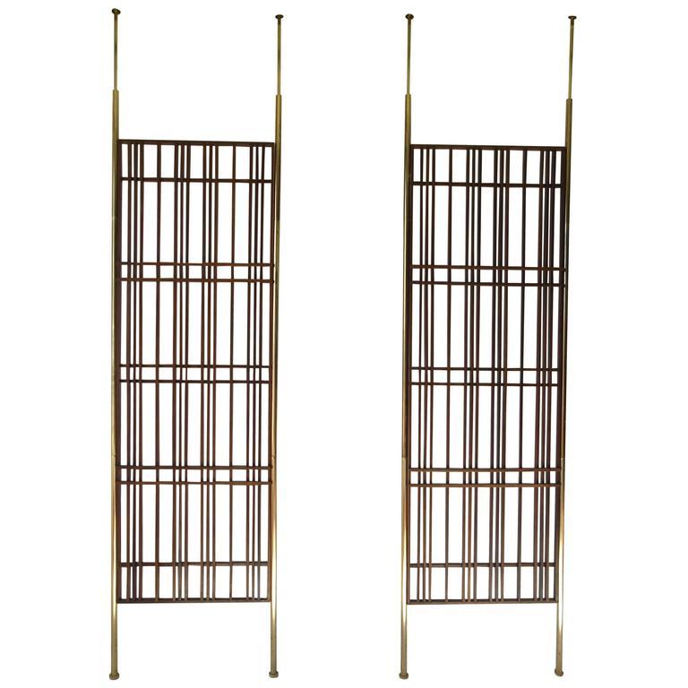 pair of fantastic modernist mahogany slat tension mount room dividers at 1stdibs. Black Bedroom Furniture Sets. Home Design Ideas