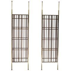 Pair of Fantastic Modernist Mahogany Slat Tension Mount Room Dividers