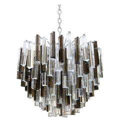 Venini Camer Italian Triedi Clear and Smoked Crystal Prism Chandelier