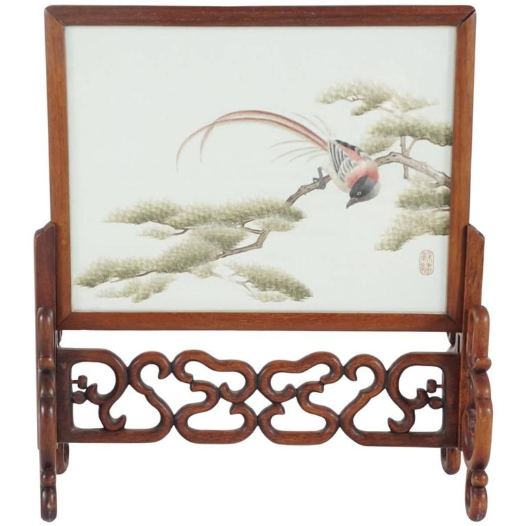 Chinese Silk Mesh and Needle Work Table Screen For Sale