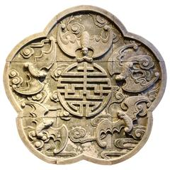 Chinese Terra Cotta Medallion with Five Bats