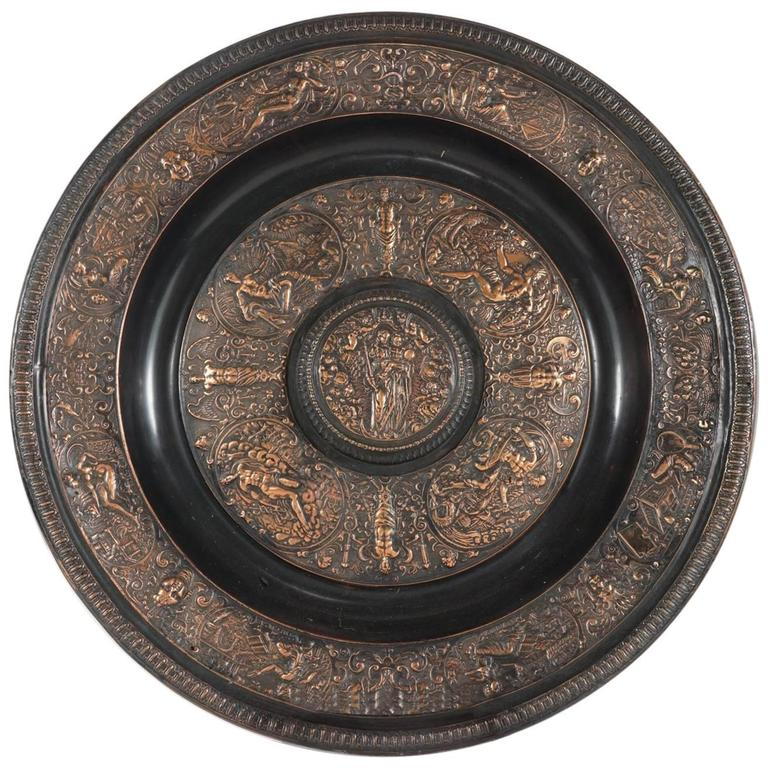 Cast Bronze Copper Flashed Patinated Renaissance Style Charger For Sale
