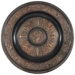 Cast Bronze Copper Flashed Patinated Renaissance Style Charger