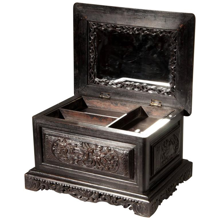 Carved jewelry box with mirror and storage for sale at 1stdibs for Mirror jewelry box