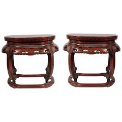 Antique Pair of Chinese Red and Black Lacquer Side Tables