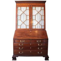 English George III Mahogany Secretary with Satin Wood Inlay