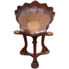 Italian, Venetian Walnut Adjustable Grotto Form Piano Stool