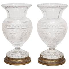 Pair of French Baccarat Cut-Glass Vases with Bronze Mounts