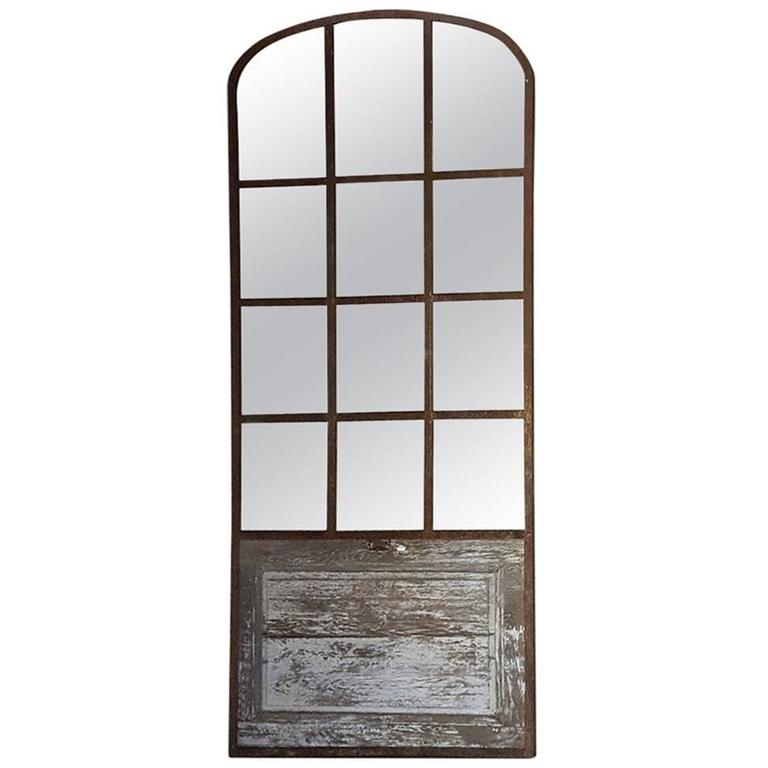 19th Century Arched Architectural Iron Window Mirror