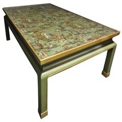 Outstanding  Painted Coffee Table with C19th  Antique Chinese Screen