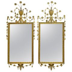 19th Century Pair of Adams Influenced Mirrors in Giltwood, circa 1890-1910
