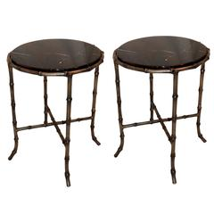 Wonderful French Pair of Bagues Bamboo Bronze Marble Top Jansen End Tables