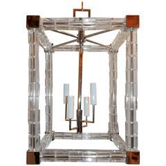 Wonderful Mid-Century Modern Chrome Glass Crystal Block Square Lantern Fixture
