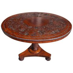 English Mahogany Decorative Carved Hibiscus Centre Table, Circa 1815