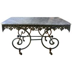 Antique French Black Marble Butchers Display Table