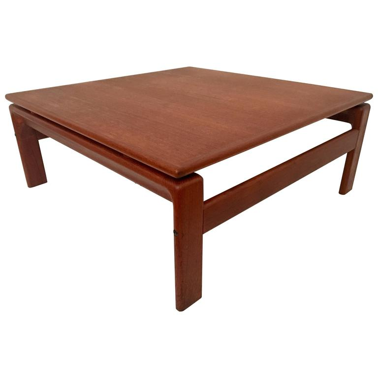 Danish Modern Teak Square Low Coffee Table By Komfort For Sale At 1stdibs