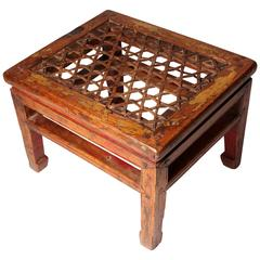Chinese Rectangular Stool with Woven Seat and Horse-Hoof Feet