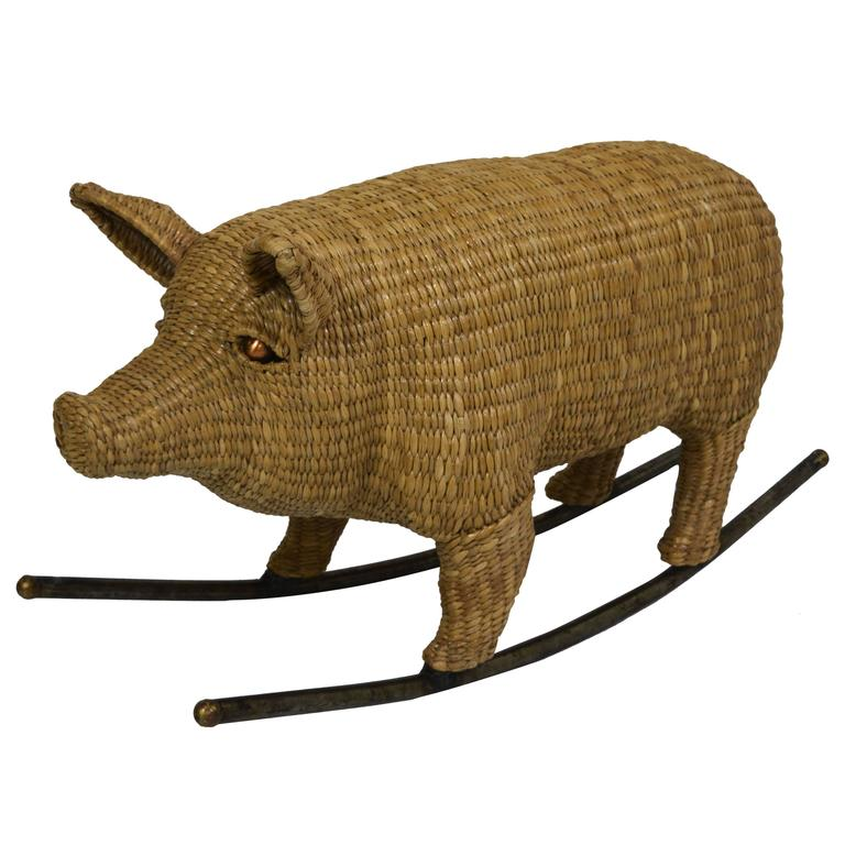 Wicker Rocking Pig By Mario Lopez Torres At 1stdibs