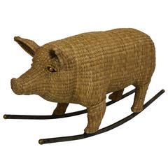 Wicker Rocking Pig by Mario Lopez Torres