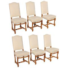 Fine Set of Six Louis XIII Style Os De Mouton Dining Chairs, circa 1880