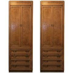 Rare Pair of High and Narrow Bird's-Eye Maple Cabinets by Thomasville