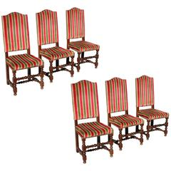 Beautiful Set of Six Louis XIII Style Dining Chairs, Solid Walnut, circa 1880