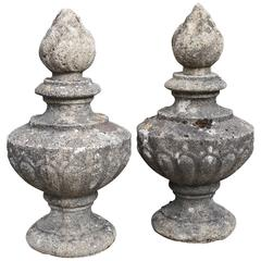 18th Century French Pot a Feu Stone Finials, circa 1770-1800