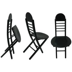 Set of Three Black Lacquer Folding Italian Chairs, 1970s