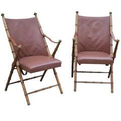 Pair of Maison Jansen Walnut Campaign Chairs