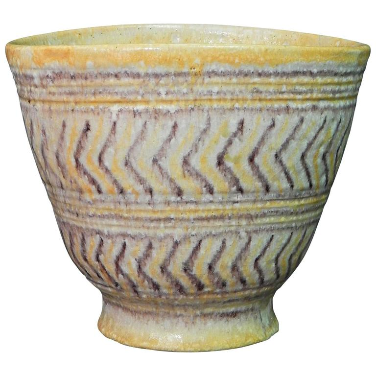 Large, Important Mid-Century Vase by Guido Gambone in Yellow and Purple