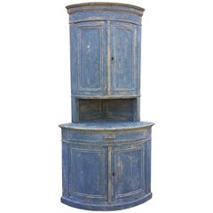 Swedish Blue Bow Front Corner Cupboard, circa 1890