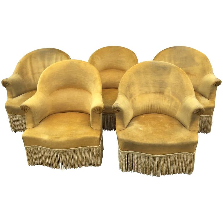 Antique French Chartreuse Velvet Salon Chairs For Sale