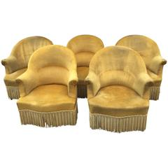 Antique French Chartreuse Velvet Salon Chairs