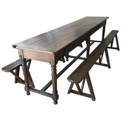Long French Oak Refectory Table with Center Stretcher and Two Trestle Benches