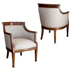 Fine Pair of Sculptural Armchairs in Cuban Mahogany Attributed to Johan Rohde