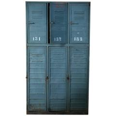 Two-Tier Blue Gray Industrial Locker from Holland, circa 1950