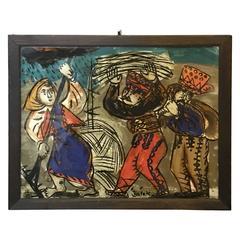 1960s Reverse Glass Folk Art Painting by Andrzej Galek #1