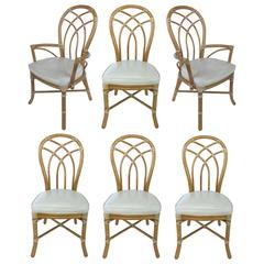 Mid-20th Century Set of Six Rattan Dining Chairs by McGuire