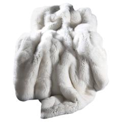 Natural White Fox Fur Throw