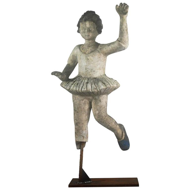 20th Century Weahered French Ballet Dancer Statue